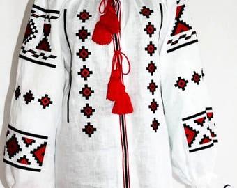 Boho Blouse Ukrainian Shirt Vyshyvanka Bohemian Clothes Mexican Embroidery Vishivanka Ethnic Folk Blouses Embroidered Blouse White Linen