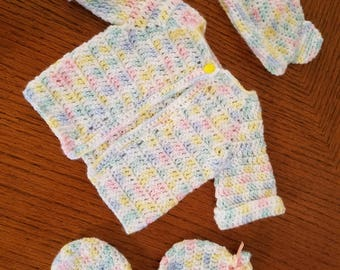 Crochet Baby Set Jacket with hat and mittens