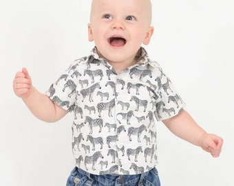 Baby Boy Shirt, Zebra's, Made to Order, Celebrations, Party Wear, Weddings
