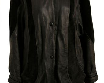 Black Vintage leather and suede mixed 80's style