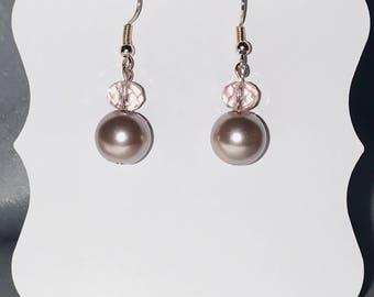 Pink crystal and pearl earrings