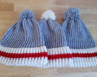 Ready to ship, Sock Monkey beanie, Double Brim Hat, Pompom, Adult, Children, Winter hat, loom knit, Extra Warm Winter Toque, PomPom Hat