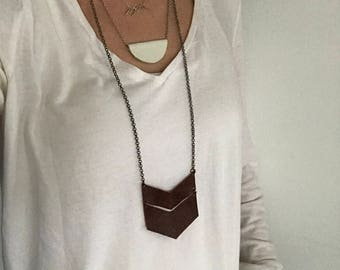 Long double chevron genuine leather brown necklace