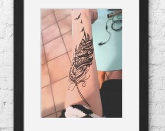 Table tattoo feather birds
