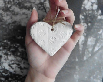 Personalised Clay Heart Wall Hanging, Floral Wall Hanging