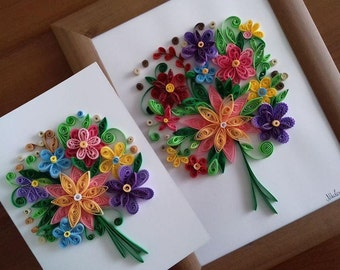 Flower Bouquet - Handmade with quilling art technique