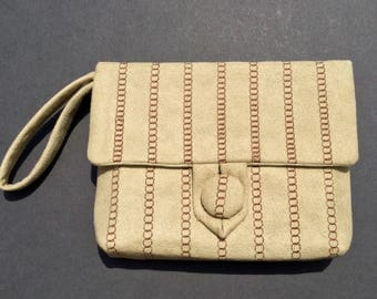 Faux Suede Embroidered Day Clutch, Chocolate