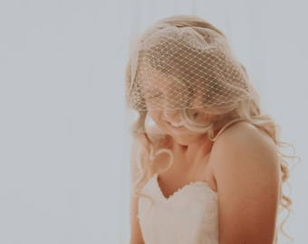 Double layer full birdcage veil, Tulle birdcage blusher, Tulle and netting blusher, Small double veil, brass and birdcage veil, Ivory/White