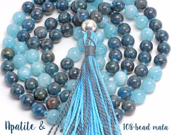 Apatite and Aquamarine Necklace, Hand-Knotted, 108 Bead Mala