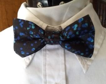 Child Satin Black and Blue Polka Dot Adjustable Bow Tie