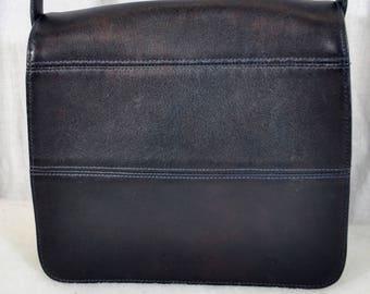 Vintage Coach Black Leather Handbag - Hobo Purse - Fold Over Top - Adjustable Shoulder Strap