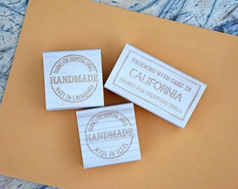 Custom Stamp - Shop Small Stamp - Personalized - Shop Stamp - Packaged with Care - Handmade
