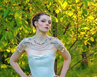 Pearl Shoulder Necklace Bridal Epaulette Wedding Accessory Back Draping Body Jewelry Vintage 1920s Style Victorian Edwardian Chain Handmade