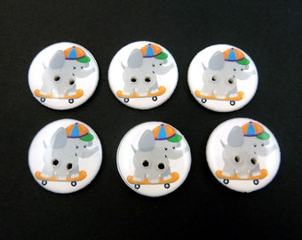 "6 Elephant Buttons. Elephant on Skateboard Sewing Buttons.   3/4"" or 20 mm.  Novelty Buttons Handmade By Me. Washer and dryer Safe."