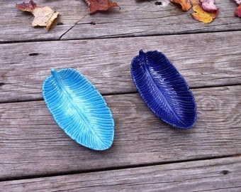 Feather Dish, Ceramic Feather Dish, Blue Feather Dish, Aqua Feather Dish, Feather Soap Dish