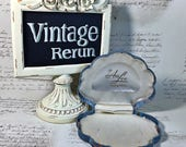 Vintage Am Lee designer jewelry box presentation blue peach floral clam shell
