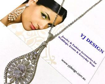 Art Deco Wedding Necklace, Gatsby Bridal Necklace, Cz Bridal Jewelry, SUNSHINE Cubic Zirconia Wedding Jewelry, Glamour Silver Necklace