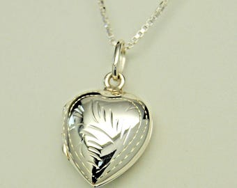 Full Front Engraved Puffed Heart Urn Necklace in 925 Sterling Silver || Ashes Keepsake