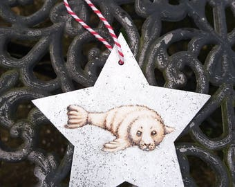 Seal Pup Tree Decoration - Baby's First Christmas ornament - Baby Seal - pyrography personalised, custom, 1st, woodburning, personalized