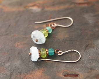 Green Onyx, Peridot and Aquamarine Earrings