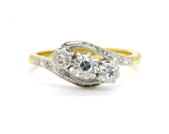 Art Deco Diamond engagement ring Antique 18ct Platinum Millegrain 3 stone bypass crossover Vintage English 1930s Milgrain*FREE SHIP