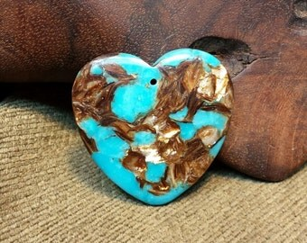 Eye-catching Bornite & Blue Turquoise Heart