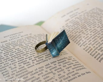 Miniature Galaxy Blue Book Ring.  Space Universe book jewelry