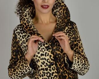 Leopard Jacket, Faux Fur, Rockabilly Jacket, Short Jacket, Cropped Jacket, Size Medium, Vintage Jacket, 90s Jacket, Big Collar,