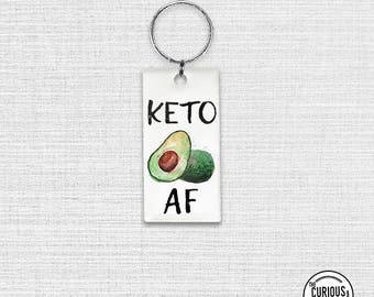 Keychain KETO AF avocado Funny Keto Diet , Key Chain Key Ring Rectangle 1.5 x 3 inch Acrylic