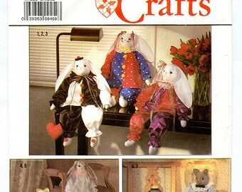 "Rabbit and Cat 24"" Stuffed Animal With Clothes Vintage Sewing Pattern Simplicity 9336"
