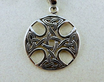 Sterling silver Celtic Cross Pendant with Trinity Knots