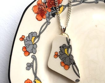 Broken china jewelry - china pendant necklace with chain - antique china shard pendant - Art Nouveau poppy motif - made from a broken plate