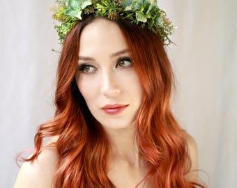 Fern and moss crown, beach wedding headpiece, mermaid flower crown, natural floral crown, seaside wedding hair accessory, flower hair wreath