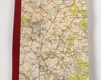 Bournemouth 1940 #3 - Horton - Recycled Vintage Map Notebook