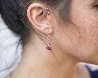 Tiny Tassel Dainty Earrings with 14kt Gold Fill Twisted Circle, Small Burgundy Earrings, Dark Red Little Dangles, Miniature Tassel Earrings