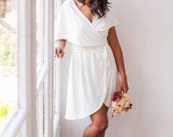Short Simple Wedding Dress Wrap Relaxed Fit Beach