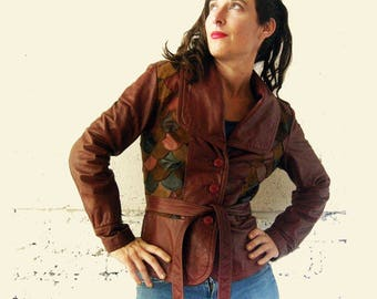 70's Leather Patchwork Scale Belted Jacket Boho Funky