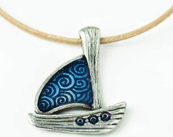 25%OFF Large Sailboat Charm Sailboat Pendant Sea charm Antique Silver blue enamel spiral sails Greek double sided with bail European Casting