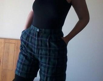 Plaid Shorties | high waist Celtic tartan plaid green & blue vintage 80s 90s preppy school girl punk rock vintage SHORTS small medium S M