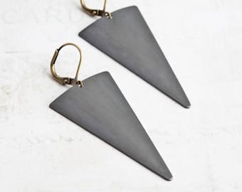 Oxidized Black Large Triangle Earrings on Antiqued Brass Hooks (Hand Patina)