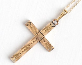 Rosy cross etsy sale vintage cross necklace 1940s 10k rosy yellow gold filled crucifix charm geometric aloadofball Choice Image