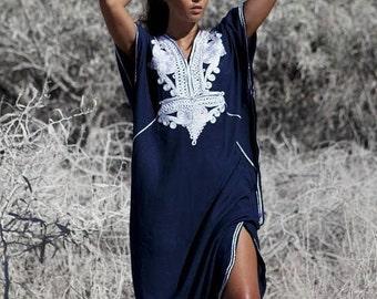 Kaftan dress, Caftan, 25% OFF Autumn Dress Sale -Navy Blue &Silver Boho Marrakech, Beach dress, caftan, Kaftan ,beach cover ups, resortwear