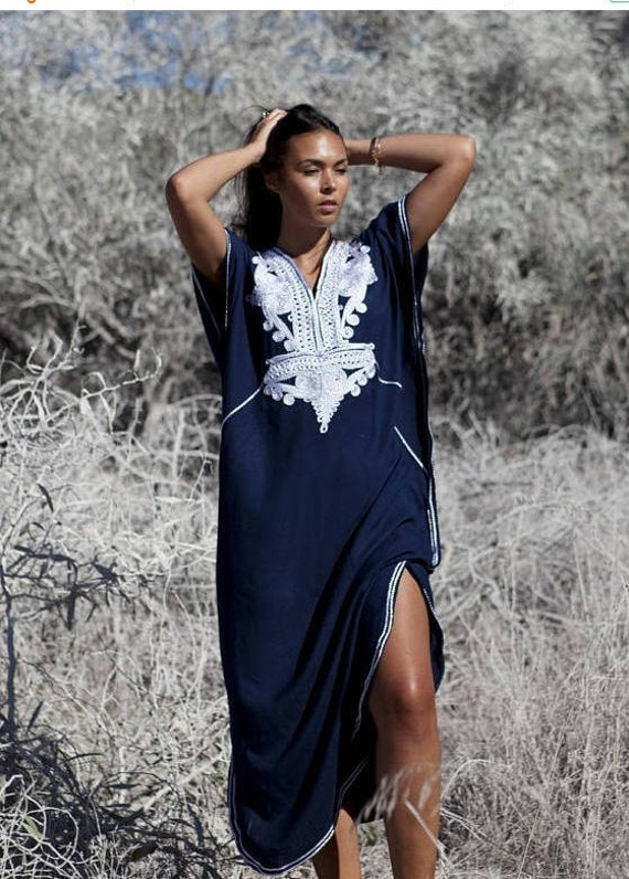 Kaftan dress, Caftan, 25% OFF Autumn Dress Sale -Navy Blue &Silver Boho Marrakech, Beach dress, caftan, Kaftan ,beach cover ups, resortwear