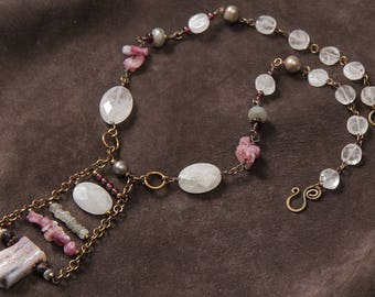 "Coming Up Rosy necklace"" pink opal, tourmaline, rose quartz, copper, labradorite"
