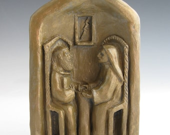 Patrons of Sisters & Brothers: Sts. Scholastica and Benedict, Handmade Statue