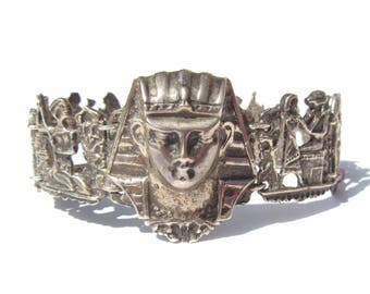 Egyptian Revival Bracelet Sterling Silver Pharaoh and Hieroglyphics, Vintage Jewelry