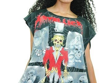 Vintage METALLICA Shirt 1990s All over Print Pushead Artwork Concert shirt Band Tee Metallica Tee Metallica Shirt Heavy Metal Thrash Metal