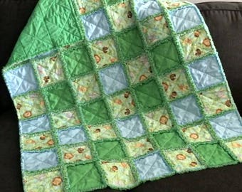 Jungle Baby Baby Rag Quilt Handmade One Of A Kind Baby Rag Quilt Baby Crib Nursery Shabby Chic Quilt