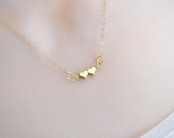 Double Heart Necklace, Tiny Necklace, Delicate Gold Necklace, Minimal Necklace, Sister Necklace, Friendship Necklace, Best Friend Necklace