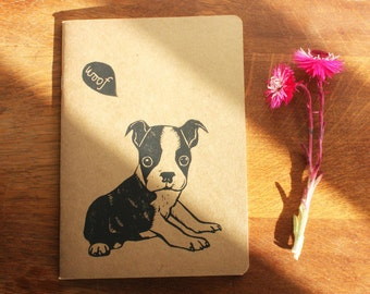 Boston Terrier, Valentine's Gift, Linocut, sketchbook, A5 Recycled Notebook, Plain White Pages, Hand Printed, Printmaking, UK Free Postage